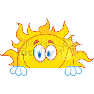 Royalty Free RF Clipart Illustration Smiling Sun Cartoon Mascot Character Over A Sign Board clipart. Royalty-free image # 396886