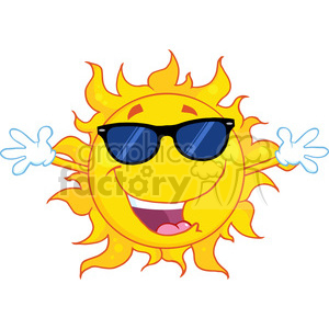 Royalty Free RF Clipart Illustration Happy Sun With Sunglasses And Open Arms clipart. Commercial use image # 396926