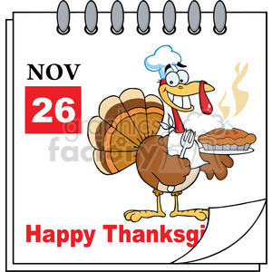 8970 Royalty Free RF Clipart Illustration Calendar Page Turkey Chef With Pie Vector Illustration