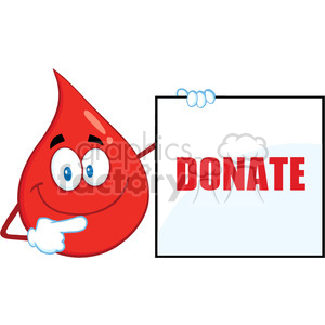 Royalty Free RF Clipart Illustration Red Blood Drop Cartoon Mascot Character Showing A Blank Sign With Text Donate clipart. Commercial use image # 396982