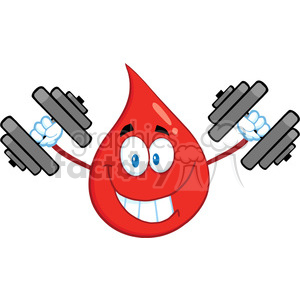 Royalty Free RF Clipart Illustration Smiling Red Blood Drop Cartoon Mascot Character Training With Dumbbells