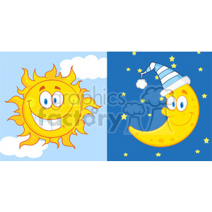 Royalty Free RF Clipart Illustration Sun And Moon Cartoon Mascot Characters clipart. Royalty-free image # 397052