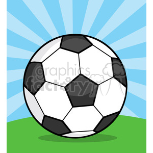 7345 Royalty Free RF Clipart Illustration Soccer Ball On Grass clipart. Royalty-free image # 397062