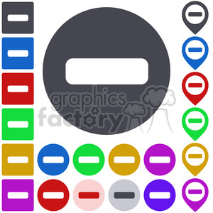 minus negative no not button icon symbol sign set vector abstract app business button set concept design element flat flat icon+packs math subtract negative