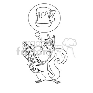 luke the cartoon squirrel dreaming of beer black white clipart. Commercial use image # 397385