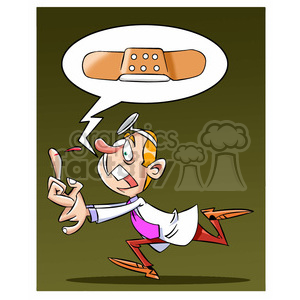doug the cartoon doctor running for a band aid clipart. Commercial use image # 397415