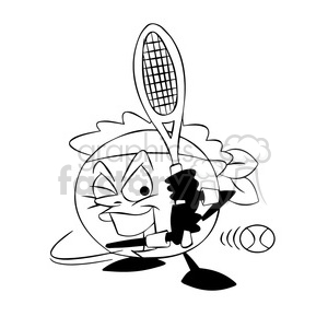 terry the tennis ball cartoon character playing tennis black white