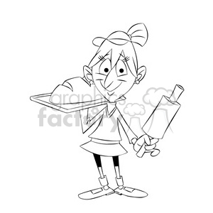 mary the cartoon character baking bread black white clipart. Commercial use image # 397445