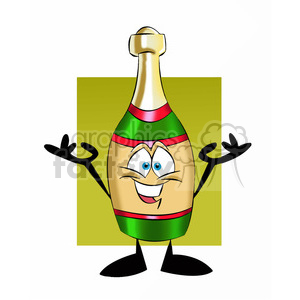 cartoon bottle of champagne clipart. Royalty-free image # 397465