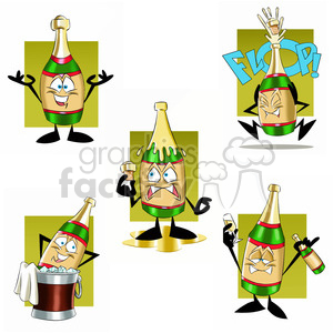 cartoon bottle of champagne clipart set clipart. Royalty-free image # 397475