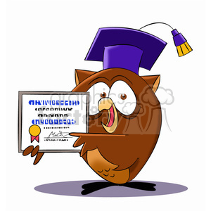 buho the cartoon owl holding diploma clipart. Commercial use image # 397485