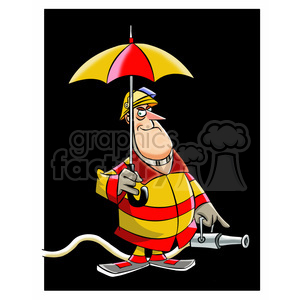 frank the cartoon firefighter holding an umbrella clipart. Royalty-free image # 397525