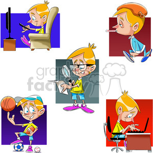 small boy cartoon character set clipart. Commercial use image # 397545