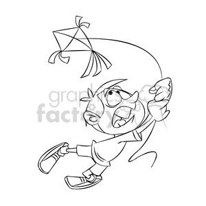 josh the cartoon character losing control of kite black white clipart. Commercial use image # 397565