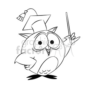 buho the cartoon owl professor black white clipart. Commercial use image # 397615