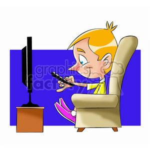 small boy binge watching tv cartoon clipart. Royalty-free image # 397685
