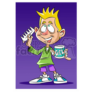 luke the teen cartoon character putting hair gel in clipart. Commercial use image # 397715