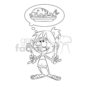 ally the cartoon character dreaming of food black white clipart. Commercial use image # 397745