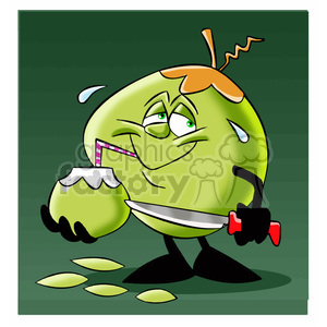 cartoon coconut character mascot charlie drinking clipart. Royalty-free image # 397815