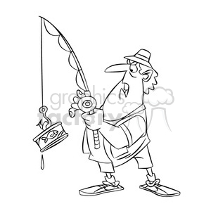 stan the cartoon fishing character catching a can of tuna black white clipart. Royalty-free image # 397835