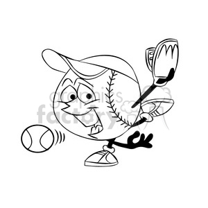 cartoon baseball mascot pitcher speedy black and white clipart. Royalty-free image # 397865