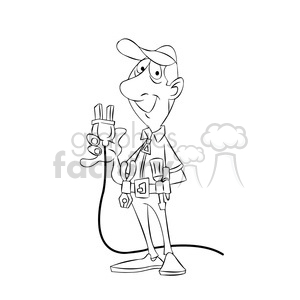 felix the cartoon handy man character holding a plug black white clipart. Commercial use image # 397875