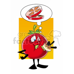 tom the cartoon tomato character eating a sandwich clipart. Royalty-free image # 397905