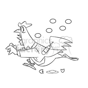 cartoon chicken running from eggs black white clipart. Commercial use image # 397915