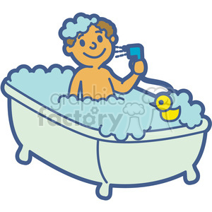 Child Taking A Bath Clipart