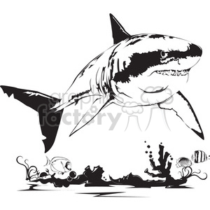 black and white shark clipart. Royalty-free image # 398013