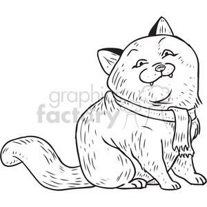 cat scarf vector illustration clipart. Royalty-free image # 398093