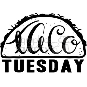 taco tuesday calligraphy typography clipart. Commercial use image # 398193