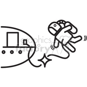 astronaut in a spacewalk and the tether broke vector icon clipart. Royalty-free image # 398465