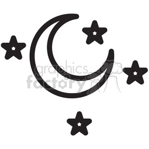 sky with moon and stars vector icon clipart. Commercial use image # 398495