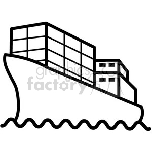 icons black+white outline vehicle transportation boat ship container