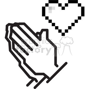 8bit praying hands clipart. Commercial use image # 398792