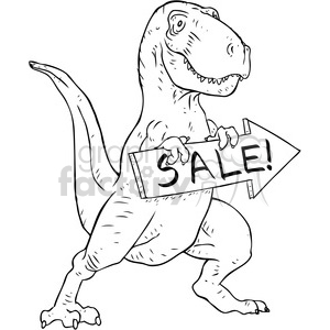 Trex holding sale sign vector illustration clipart. Commercial use image # 398864