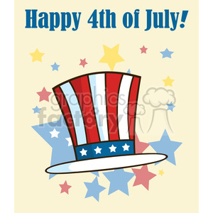patriotic american top hat cartoon illustrations vector illustration greeting card clipart. Royalty-free image # 398874
