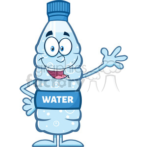 royalty free rf clipart illustration happy water plastic bottle cartoon mascot character waving vector illustration isolated on white