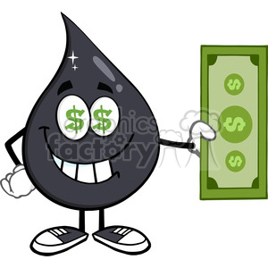 royalty free rf clipart illustration greedy petroleum or oil drop cartoon character with cash money and dollar eyes vector illustration isolated on white background clipart. Royalty-free image # 398903