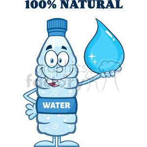 royalty free rf clipart illustration smiling water plastic bottle cartoon mascot character holding a water drop with text vector illustration isolated on white clipart. Commercial use image # 398913