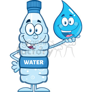 9382 royalty free rf clipart illustration smiling water plastic bottle cartoon mascot character holding a water drop vector illustration isolated on white clipart. Commercial use image # 398931