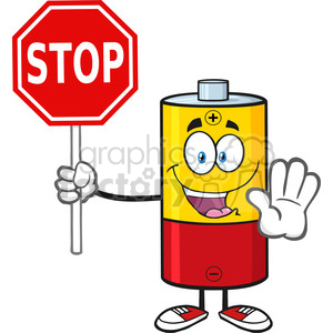 royalty free rf clipart illustration cute battery cartoon mascot character gesturing and holding a stop sign vector illustration isolated on white clipart. Royalty-free image # 398941