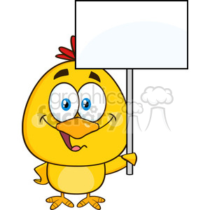 royalty free rf clipart illustration cute yellow chick cartoon character holding a blank sign vector illustration isolated on white clipart. Commercial use image # 398979