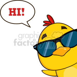 yellow chick wearing sunglasses and peeking around a corner with speech bubble vector illustration clipart. Royalty-free image # 398989