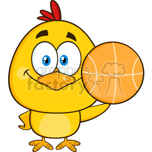 royalty free rf clipart illustration cute yellow chick cartoon character holding a basketball vector illustration isolated on white clipart. Commercial use image # 398999