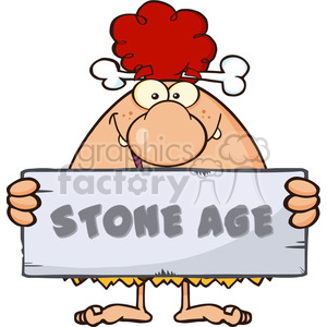 funny red hair cave woman cartoon mascot character holding a stone sign with text stone age vector illustration clipart. Royalty-free image # 399069