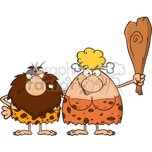 9998 caveman couple cartoon mascot characters with woman holding a club vector illustration