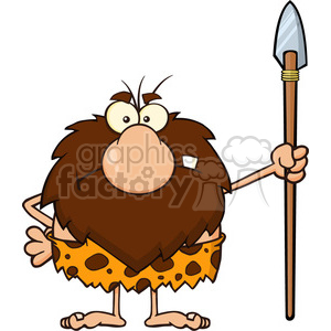 angry male caveman cartoon mascot character standing with a spear vector illustration clipart. Commercial use image # 399159