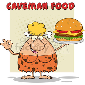 chef cave woman cartoon mascot character holding a big burger and gesturing ok vector illustration with text caveman food